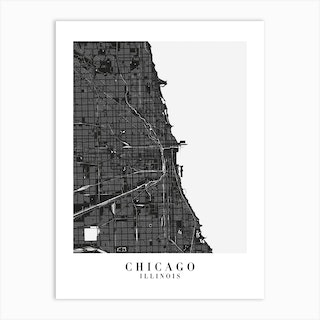 Chicago Illinois Minimal Black Mono Street Map  Art Print