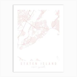 Staten Island New York Light Pink Minimal Street Map Art Print