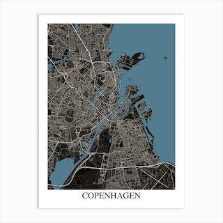 Copenhagen Black Blue Art Print