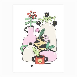 Wobbly Pots Art Print
