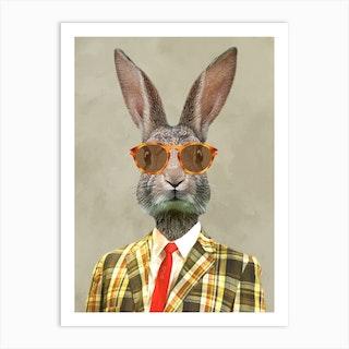 Retro Rabbit Art Print