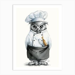 Baker Owl Art Print