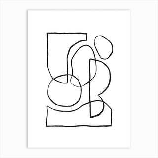 Linked Lines On White 3 Art Print