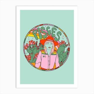 Pisces Cowgirl Art Print