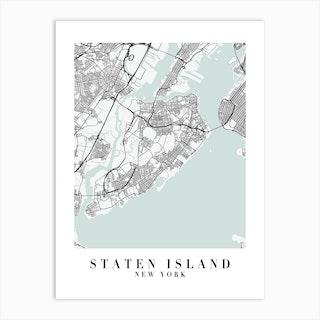 Staten Island New York Street Map Minimal Color Art Print