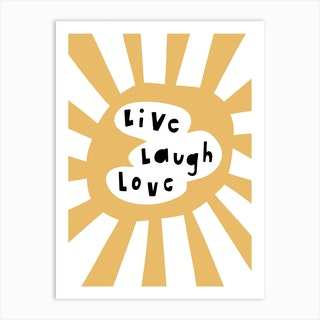 Live Laugh Love Yellow Art Print