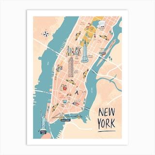 New York Illustrated Map Art Print