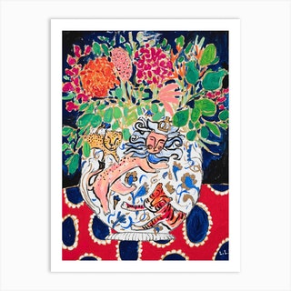 Lion Tiger And Cheetah Floral Still Life Art Print