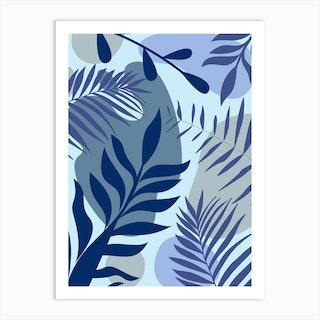 Blue Foliage Art Print