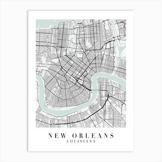 New Orleans Louisiana Street Map Minimal Color Art Print