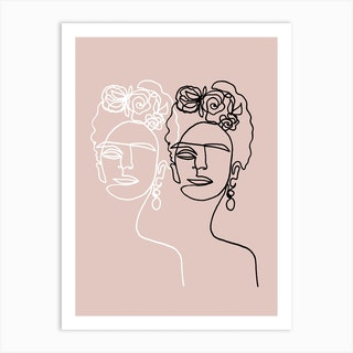 Frida Kahlo Double Rosé Art Print