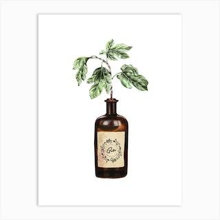 Glass Gin Bottle Vase Art Print