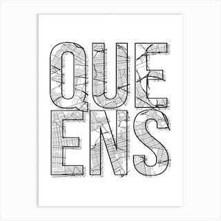 Queens Street Map Typography Art Print