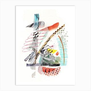 Colourful Patterned Brushstrokes Art Print