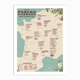 French Cheeses Map Art Print