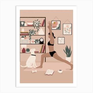 Yoga At Home Art Print