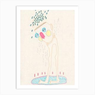 Rainy Walk Art Print
