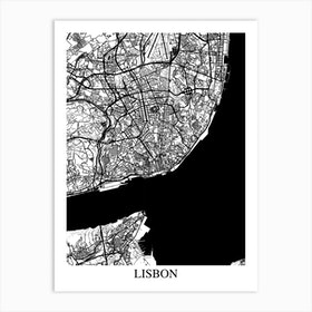 Lisbon White Black Art Print