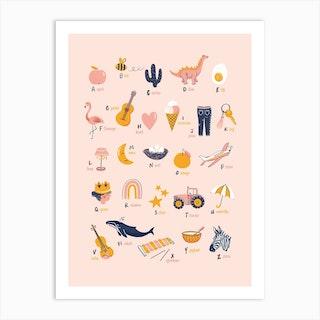 Alphabet Poster Cool Girls Art Print