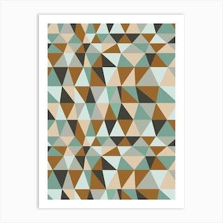 Irregular Triangles Ochre Art Print