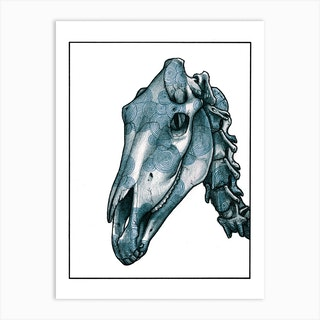 Horse Skull Blue Art Print