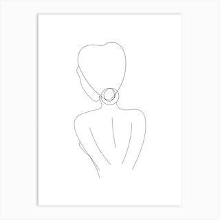 Lady Line Art Two Art Print