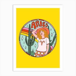Aries Cowgirl Art Print