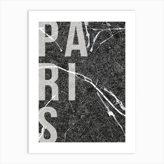 Paris Mono Street Map Text Overlay Art Print