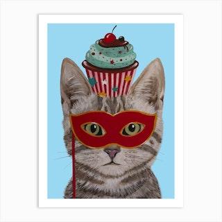 Cat With Cupcake Art Print