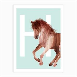 H Horse Art Print