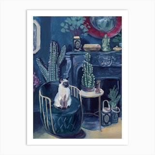 Judgy Cat In Blue Green Interior Art Print