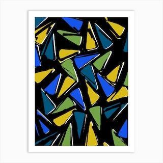 Green And Blue Segments Art Print