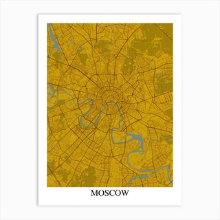 Moscow Yellow Blue Art Print