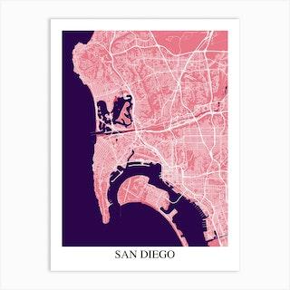 San Diego California Pink Purple Art Print