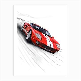Car Ford Gt40 Red Art Print