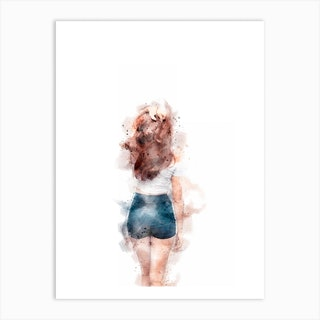 Woman Walking Away Watercolour Art Print