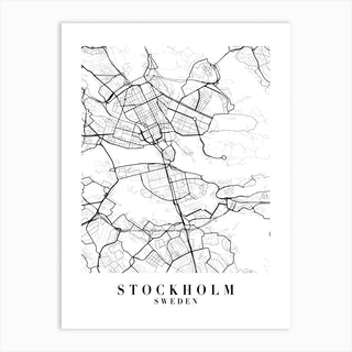 Stockholm Sweden Street Map Minimal Art Print