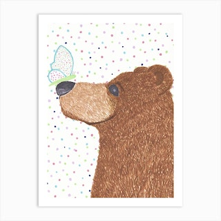 Bear And Butterfly Art Print