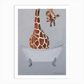 Giraffe In Bathtub Art Print