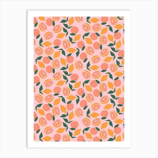 Citrus On Pink Art Print