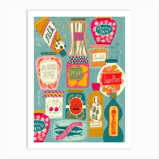 Colorful Pantry 2 Turquoise Art Print