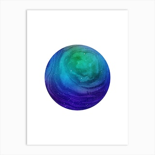 Circular Blue Marble Artwork Art Print