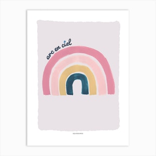 Rainbow In Pink And Teal Art Print