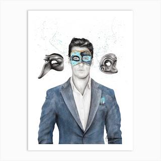A Man Of Masks Art Print