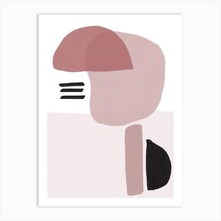 Pink And Black Abstract Art Print