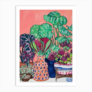 Protea Party Collection Of Vases Art Print