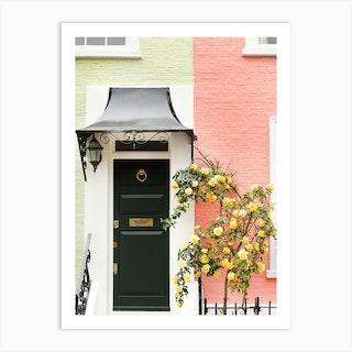 Peach Lime London Cottage Art Print