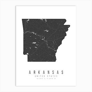 Arkansas Mono Black And White Modern Minimal Street Map Art Print