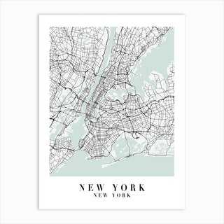 New York New York Street Map Minimal Color Art Print