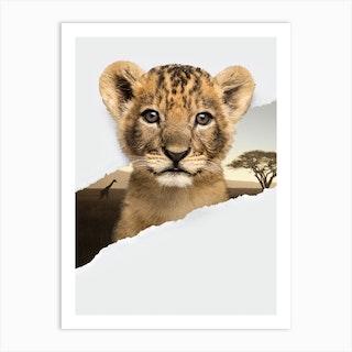 Lion Cub Torn Paper Art Print